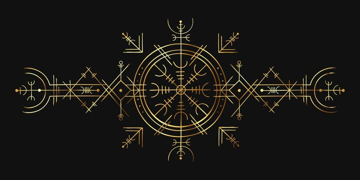 Viking magic symbol. Golden esoteric ornament, norse compass amulet. Nordic pagan spell rune for tattoo. Occult gold circle vector pattern