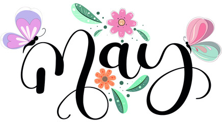 Fototapeta Hello May text hand lettering. MAY month vector with flowers, butterflies and leaves. Decoration floral. Illustration month may obraz