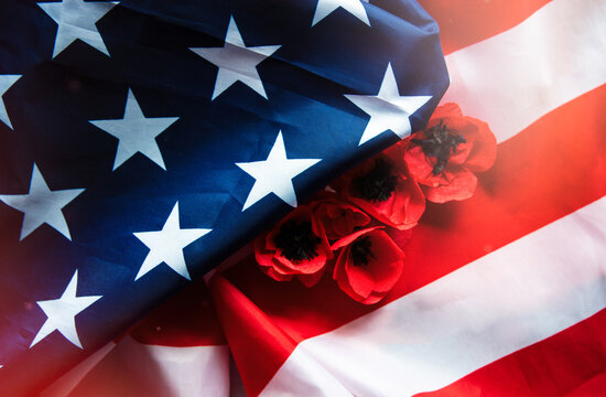 Memorial Day Remember and Honor text American flag  background