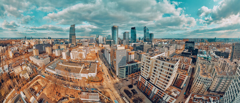 Beautiful panoramic aerial drone skyline view of the Warsaw City Centre with skyscrapers, Poland, EU