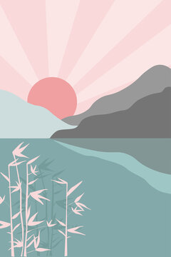 Contemporary minimalistic abstract art landscape. The sun comes out from behind the mountains, the water, the sea leaves and branches of bamboo, grass. Japanese style. Vector graphics.