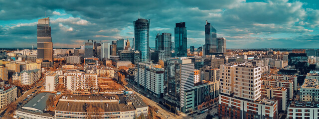 Fototapeta Beautiful panoramic aerial drone skyline view of the Warsaw City Centre with skyscrapers, Poland, EU