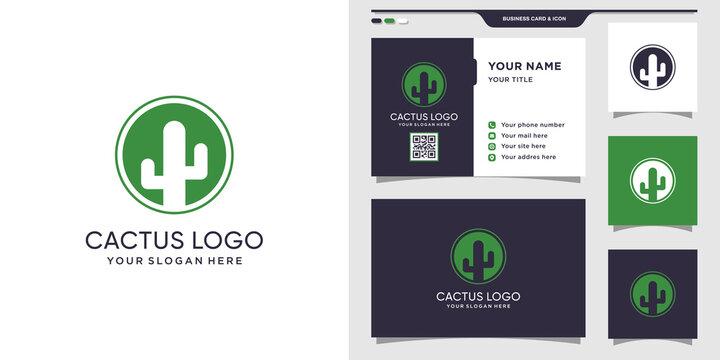 Cactus logo with circle concept and business card design. Cactus logo design template Premium Vector