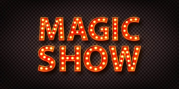 Vector realistic isolated red marquee text of Magic Show logo for decoration on the transparent background.