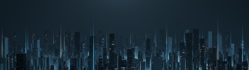 3D Rendering of futuristic virtual sci fi city. Many high sky scrapper building towers. Ultrawide angle view. Concept for night life, business vision, cyberpunk, technology product background