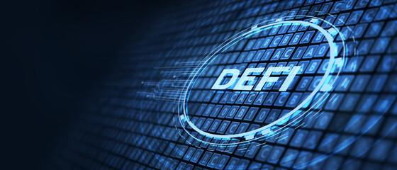 Obraz DeFi -Decentralized Finance on dark blue abstract polygonal background. Concept of blockchain, decentralized financial system - fototapety do salonu