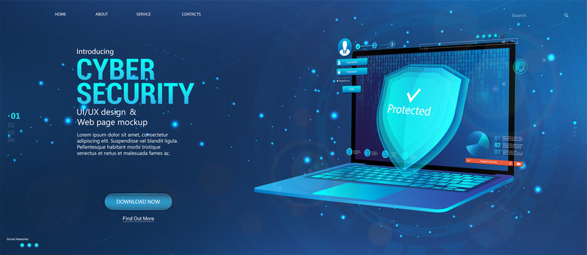 Protecting all personal data on your computer. Cyber security concept banner with laptop and security elements, data encryption, verification, software. Data privacy protection concept and shield