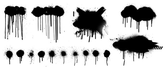 Fototapeta Template Spray Graffiti by hand drawn. Stencil mockup black grunge dots, clouds and dripping paint. Grunge graphic texture mockup. Vector spray paint with smudges and drops. Vector collection obraz