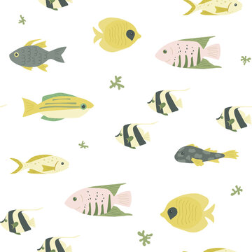 Seamless marine pattern with various fishes. Great for fabric, textile. Vector Illustration