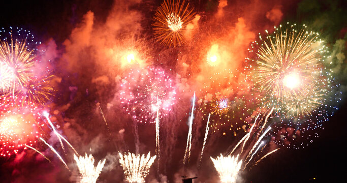 Firework celebrate anniversary happy new year 2021, 4th of july holiday festival. colorful firework in the night time to celebrate national holiday. countdown to new year 2021 party time event.