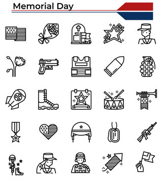 Memorial Day and military outline icon set.