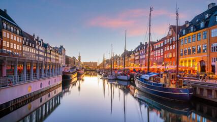 Copenhagen city skyline in Denmark at famous old Nyhavn port