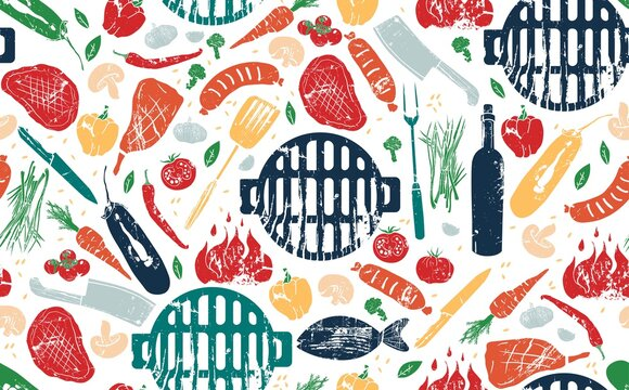 Seamless Pattern with Barbecue. Vector illustration.