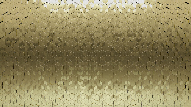 Luxurious, Diamond shaped Wall background with tiles. 3D, tile Wallpaper with Polished, Gold blocks. 3D Render