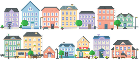Fototapeta Pixel art empty city vector. Pixelated city downtown landscape with small houses and buildings. Design for mobile app, computer game. Low-rise apartment buildings isolated on white background