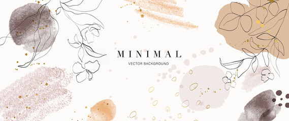 Fototapeta Abstract art background vector. Luxury minimal style wallpaper with golden line art flower and botanical leaves, Organic shapes, Watercolor. Vector background for banner, poster, Web and packaging.