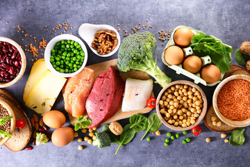 Obraz balanced diet food- selection of food hight in protein sources - fototapety do salonu