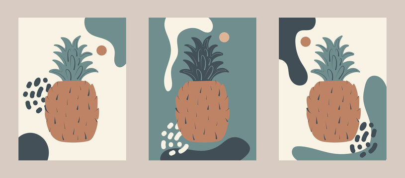 Set of minimal posters with abstract pineapple silhouette and fluid shapes. Trendy contemporary vector backgrounds. For wall art decoration, postcard, cover design and web.