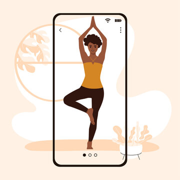 African American woman doing yoga online on smartphone at home. Vector illustration.