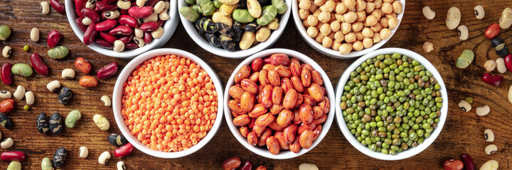 Legumes panorama. An assortment of various pulses, shot from above