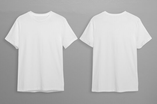 White t-shirts with copy space on gray background