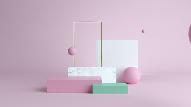 Abstract minimal scene with geometrical forms. Cube podiums in cream cwcase, shopfront,Scene to show cosmetic podructs. display case. 3d render. olors. Abstract background.