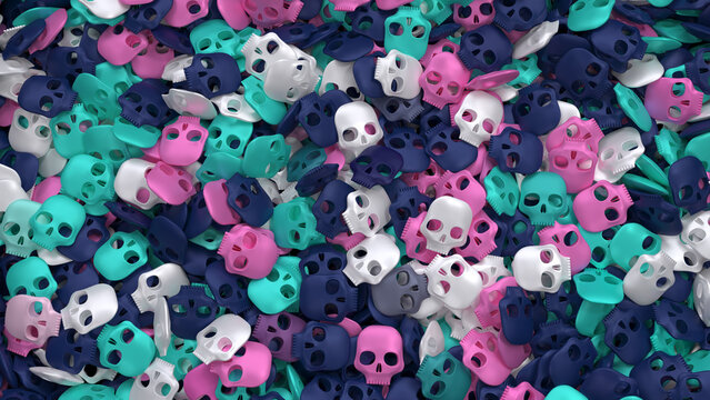 Positive skulls background with heap of stylized nice little things