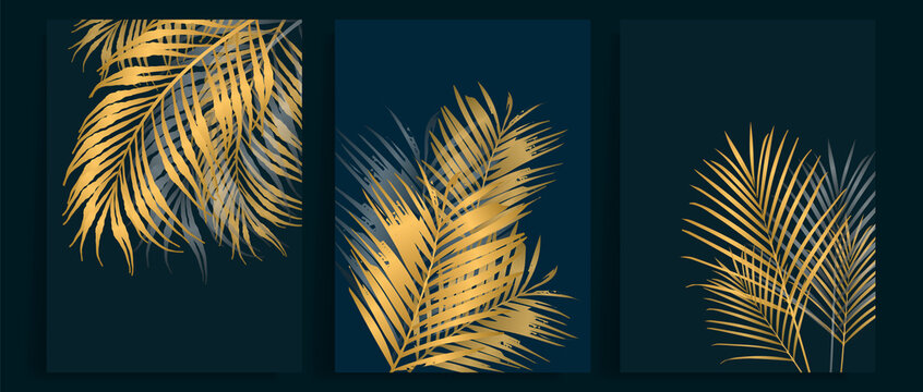 Contemporary botanical prints wall art. Golden palm and tropical leaves background vector. Canvas frame design for prints , wallpaper, cover, banner and home decor.