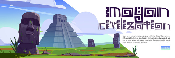 Mayan civilization cartoon web banner. Ancient pyramids of maya and moai statues on Easter island. South american landmarks Chichen Itza and Kukulkan temples with stone sculptures, vector illustration - fototapety na wymiar