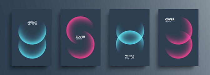 Obraz Cover template layouts with vibrant gradient round shapes. Futuristic abstract backgrounds with glossy sphere for your graphic design. Vector illustration. - fototapety do salonu