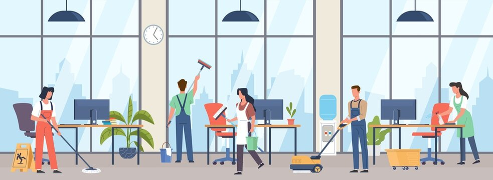 Cleaning premises. People group in uniforms wash office interior with professional industrial washer equipment, janitors team service large rooms with detergents vector cartoon concept