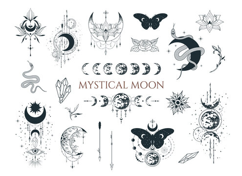 Mystical moon collection. Spiritual tattoo. Celestial prints.