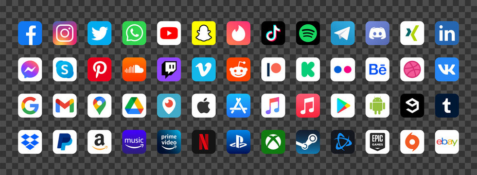 Vector digital media application logo icon set