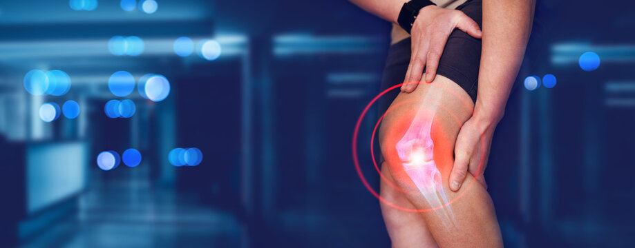 Person suffering from knee pain.  Digital bone on the human foot.  Injury caused by training. Tendon problems.