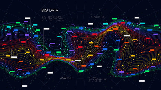 Information sorting and storage business technology, futuristic visualization of big data digital stream, color structure of neural network
