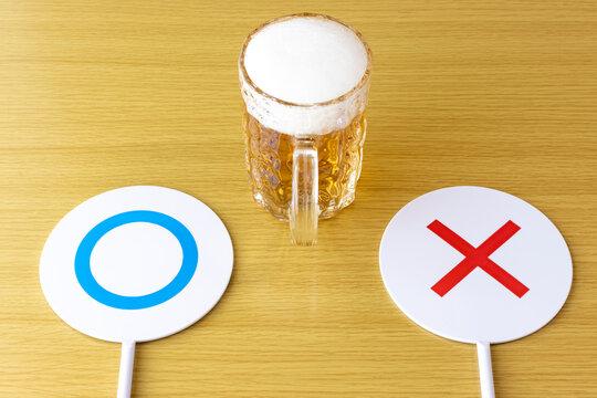 生ビールとtrue or falseサインのイメージ