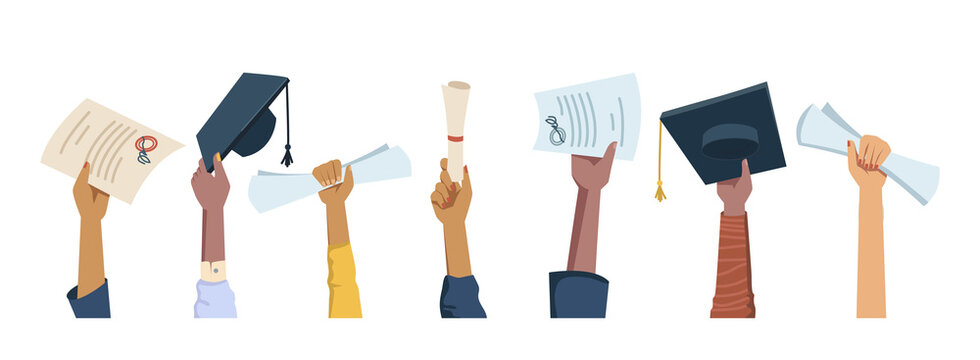 Set of multi ethnic hands holding diplomas, mortarboard hats and certificates, graduation celebration flat cartoon people arms. Vector happy students celebrating graduate from college, university