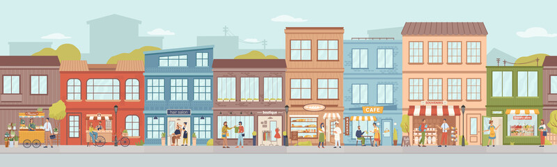 Fototapeta City small buildings facade exterior design. Vector urban street with local markets, flower florist shop, bakery and barbershop, clothing boutiques and cafes, restaurants and cafeterias, people