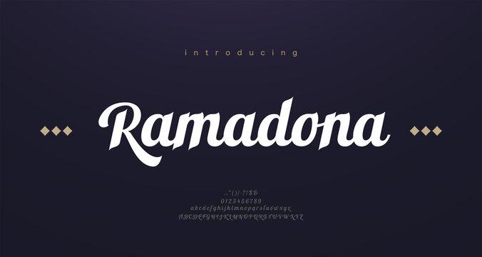 Arabic style font alphabet letters. Elegant arabian classic lettering. Typography modern serif fonts decorative asian design concept. vector illustration