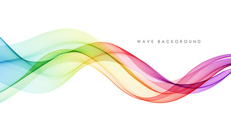 Fototapeta Vector abstract colorful flowing wave lines isolated on white background. Design element for technology, science, music or modern concept. obraz