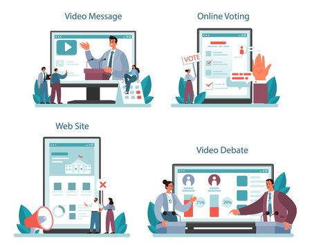 Politician online service or platform set. Idea of election and governement.