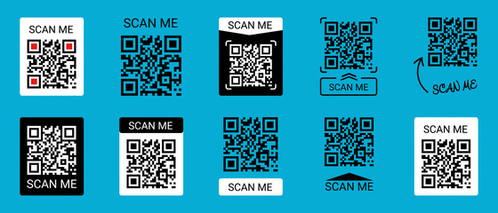 Fototapeta Mobile Smartphone QR Code Application Button With Scan Me Sign - Vector Illustrations Icon Set Isolated On Blue Background
