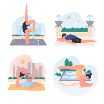Men and women doing yoga concept scenes set. People do asanas, develop flexibility, balance, sports training outdoors. Collection of human activities. Vector illustration of characters in flat design