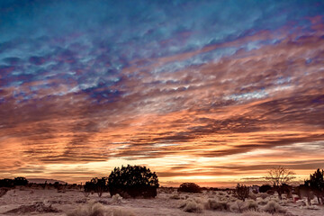 Canvas Prints Deep brown Breathtaking sunset over a field in Santa Fe, New Mexico