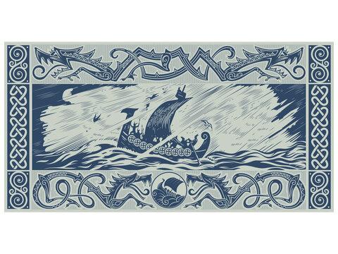 Scandinavian design. Viking ship Drakkar with a dragons head. Warship of the Vikings, Scandinavian pattern in the shape of a winged dragon