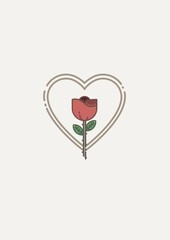 Rose flower icon over heart shape with copy space against white background