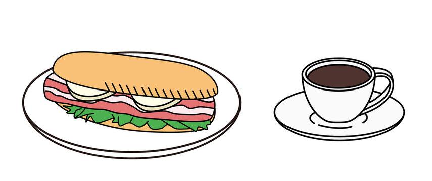 Sandwich, bacon, cheese, breakfast, set