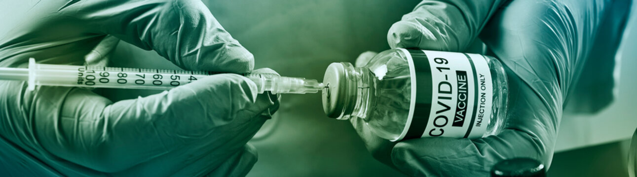 filling syringe with covid-19 vaccine, web banner
