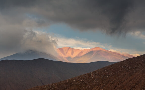 Landscape with mountains and clouds in n the department of Iruya, northwest Argentina