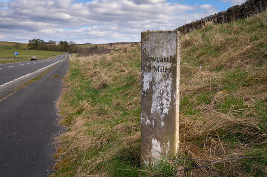 Milestone to Newcastle on A696 near Otterburn, where there are several ancient marker posts on the rural A696 road in Northumberland